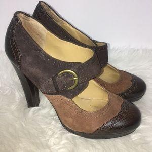 Nine West Heels Mary Jane Suede Color Block Heel